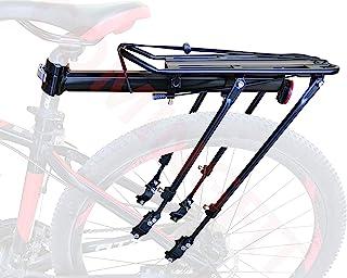 COMINGFIT® 調節可能な自転車荷物貨物ラック、超強力なアップグレード自転車荷物キャリア、80kgの重さをサポートするための4つの強力なサポートバー