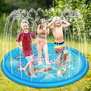 phixilin Splash Pad,170cm Sprinkler Wasser-Spielmatte Anti-Rutsch Wasserspielzeug Play Matte Sommer Outdoor Spielzeug mit Meerestiere, Sommer Garten Wassermatte für Kinder 2 3 4 5 Jungen und Mädchen