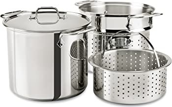 All-Clad E9078064 Stainless Steel Multicooker with Perforated Steel Insert and Steamer..