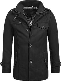 Indicode Brandon męski krótki płaszcz ze stójką, ciepły płaszcz wełniany, krótki płaszcz męski, płaszcz zimowy, kurtka męs...