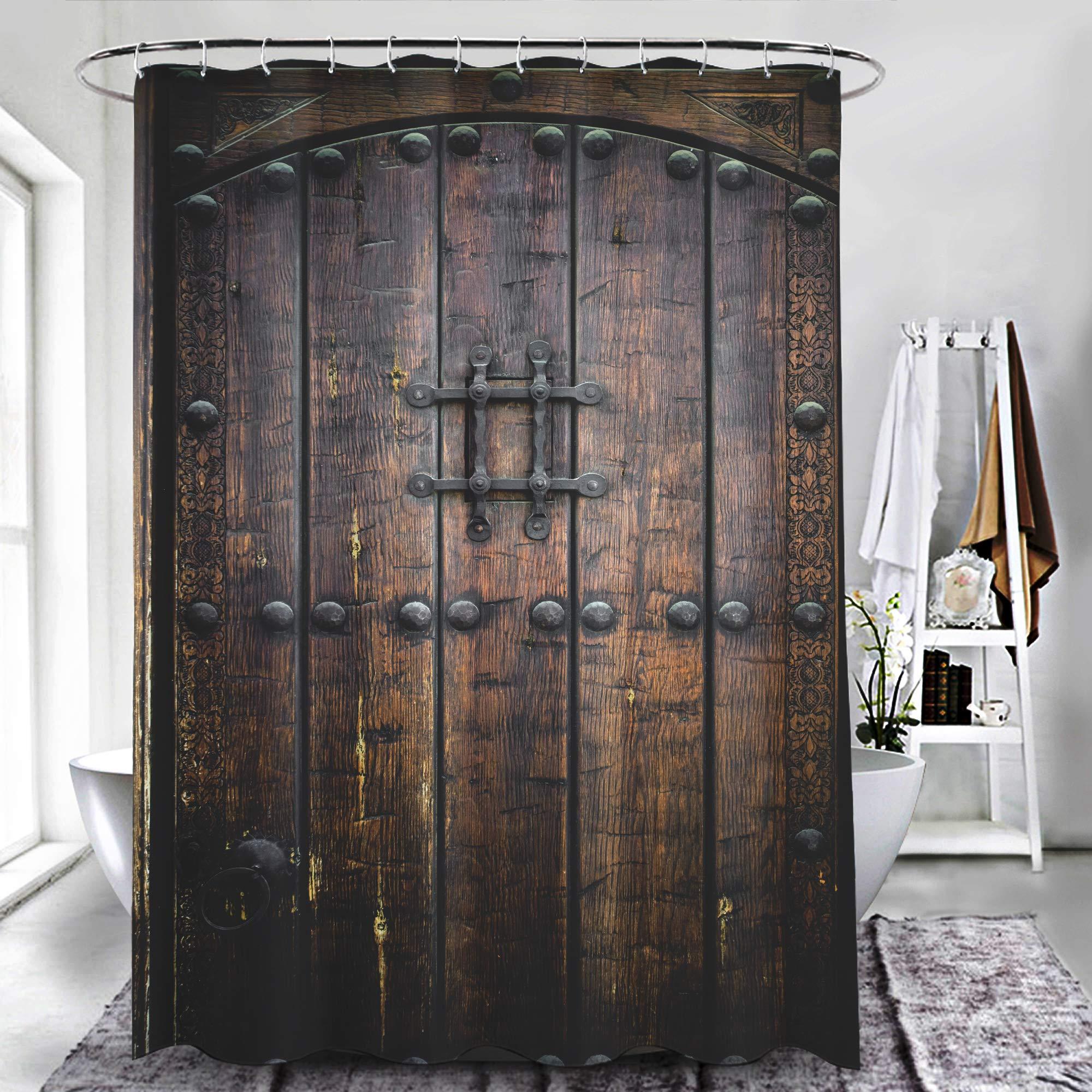 ZXAWT - Cortinas de Ducha Impermeables para baño, Puertas correderas de Madera con Textura rústica: Amazon.es: Hogar