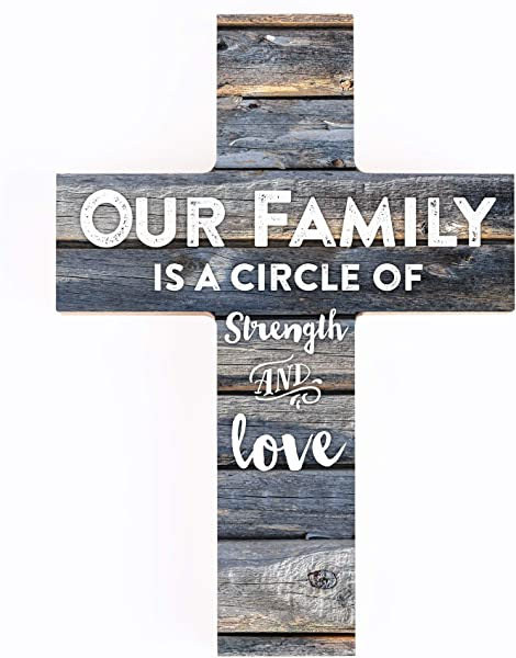 P Graham Dunn Our Family Is A Circle Of Strength And Love Rustic 7 X 5 Wood Wall Art Cross Plaque