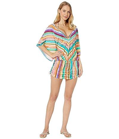 Luli Fama Heat Waves Cabana V-Neck Dress Cover-Up (Multi) Women