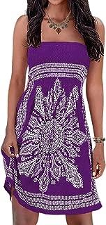 Initial Women's Strapleess Floral Print Bohemian Beach Dress Cover-up Dress