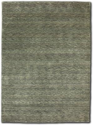 Morgenland Gabbeh Loribaft Teppich Silber Einfarbig Uni Schurwolle Handgewebt 200 x 140 cm