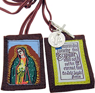 JMJ Products, LLC Our Lady of Guadalupe Brown Scapular with Medals