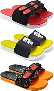 Camfoot Men's (1702-9243-1715) Multicolor Casual Stylish Slides Slippers (Set of 3 Pair)