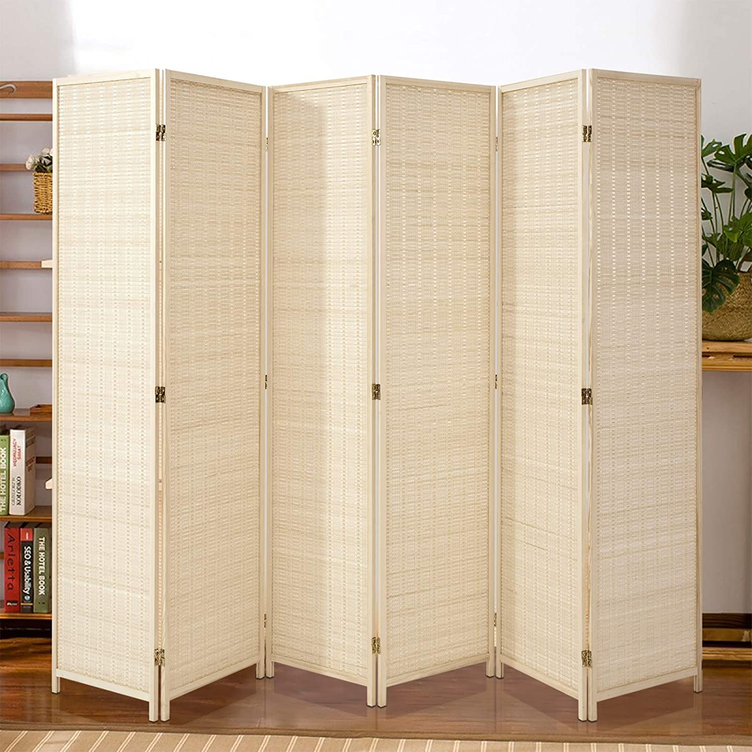 Esright 6 Panel Bamboo Room Divider Tall Privacy supreme Folding Ft S online shop