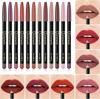 Beaupretty 12 Cores Lip Liner Pen Set Cores Sortidas Natural Lábio Maquiagem Lápis Labial À Prova D' Água E de Longa Duraç...
