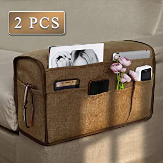 Joywell Anti-Slip Armrest Covers & Organizer with 6 Pockets for Sofa Couch, Armchair Caddy for Remote Control, Phone, iPad, Recliner Arm Protector for Pets, Durable Slipcover, Set of 2, Chocolate