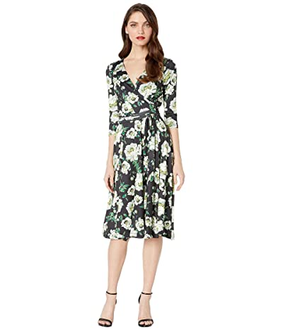 Unique Vintage 1940s Style Kelsie Wrap Dress (Black/Ivory Floral) Women