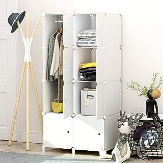 MEGAFUTURE Portable Vêtements Penderie Armoire garde-robe Autonome de rangement pour vêtements Blanc, Plastique, blanc, 8 ...