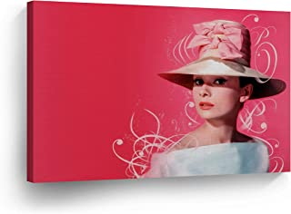 Audrey Hepburn Wall Art CANVAS PRINT Hat with Ribbon Pink Background Iconic Decoration Modern Home Decor Stretched and Ready to Hang -%100 Handmade in the USA - 30x40