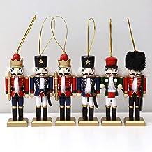 PIONEER-EFFORT 5 Inch 6 Pieces in Red Box Wooden Nutcracker with Beautiful Details - Wooden Soldier Nutcracker Dolls Tradi...