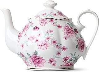 BTäT- Tea Pot, Teapot, Porcelain Teapot, 38 oz, Floral Teapot, Bone China Teapot for Tea Set, Ceramic Tea Kettle, Tea Pots for Tea Cup, Tea Pot Ceramic, Tea Pots for Loose Tea, Teapot for Infuser
