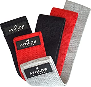 Athlos Fitness Cloth Glute Bands Resistance Band Set - Fabric Resistance Bands for Legs and Butt - Booty Bands for Women and Men