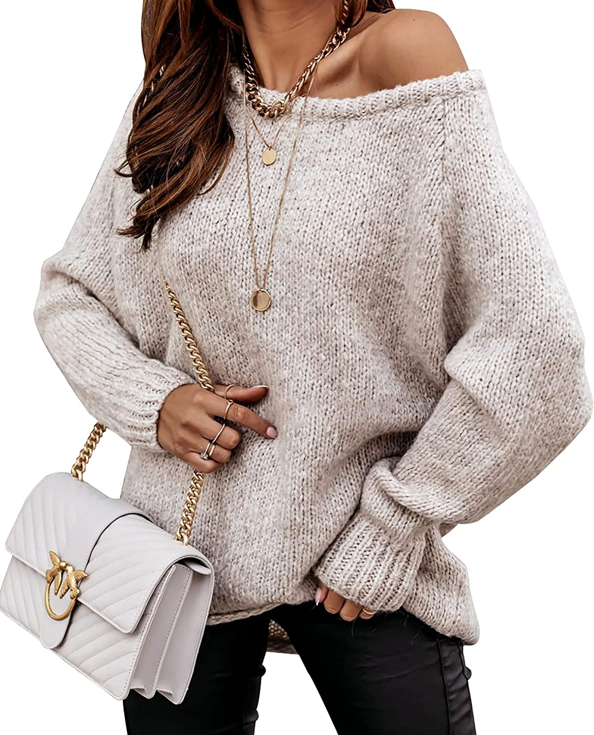 BTFBM Women's Long Sleeve Sweaters Casual Crew Neck Solid Color Soft Cozy Ribbed Knitted Pullover Sweater Jumper Tops
