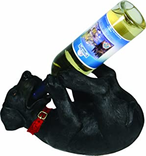 River's Edge Products Hand Painted Poly Resin Black Lab Wine Bottle Holder