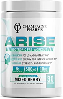 Arise Nootropic Pre-Workout All Natural Flavoring with Huperzine A-Panax Ginseng-Rhodiola Rosea Root Extract-L-Theanine