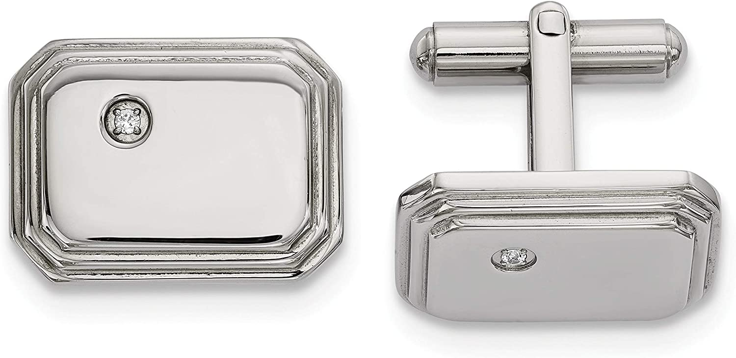 Stainless Steel Polished with Cz Cuff Links White Men's