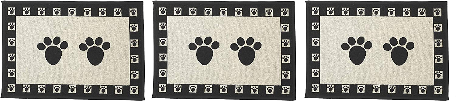 Black and Natural PetRageous 10209 Paws Tapestry Dog Non-Skid Machine Washable Placemat for Pet Feeding Stations with Rubber Backing 13-Inch by 19-Inch for Dogs and Cats Fоur Paсk