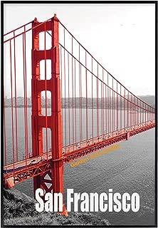 Frametory, 13X19 Poster Frame, Pre-Assembled Black Metal Aluminum, Golden Gate Bridge Gallery Edition (Metal, 13x19)