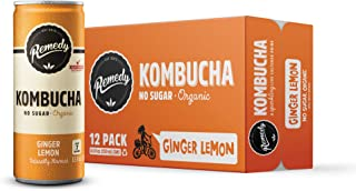 Sponsored Ad - Remedy Raw Organic Kombucha - Sparkling Live Cultured Drink - Sugar Free Ginger Lemon - 8.5 Fl Oz Can, 12-Pack