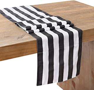 Ling's moment Classic Black and White Striped Table Runner 12 x 72 Inches, 100% Cotton Machine Washable Colorfast