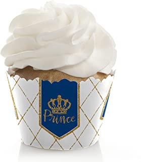 Royal Prince Charming - Baby Shower or Birthday Party Decorations - Party Cupcake Wrappers - Set of 12