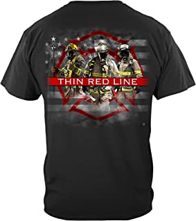 fire Fighter Shirts | Firefighter American Flag Thin Red Line T Shirt FF2353