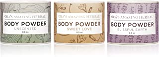Natural Body Powder Dusting Powder Travel Sizes 3 pak, No Talc, Corn Grain or Gluten Sweet Love, Blissful Earth, Unscented.5 oz each
