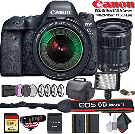 $1766 Get Canon EOS 6D Mark II DSLR Camera with 24-105mm f/3.5-5.6 Lens (International Model) (1897C021) W/Bag, Extra Battery, LED Light, Mic, Filters and More - Advanced Bundle