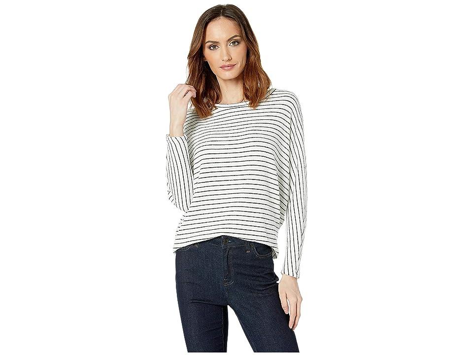 American Rose Inez Boat Neck Striped Sweater (White/Black) Women