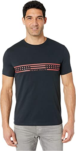 e3b0af211 New. Dark Sapphire. 0. Perry Ellis Portfolio. Chest Stripe Graphic Print  Tee Shirt