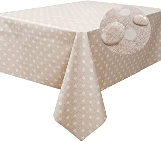 LEEVAN Heavy Weight Vinyl Square Table Cover Wipe Clean PVC Tablecloth Oil-Proof/Waterproof Stain-Resistant-54 x 72 Inch (Polka Dot)