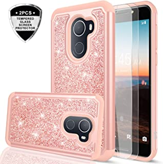 T-Mobile REVVL Case,Alcatel Walters / A30 Plus Case with Tempered Glass Screen Protector [2 Pack],LeYi Girls Women Glitter Phone Case for Alcatel A30 Fierce 2017 (5.5