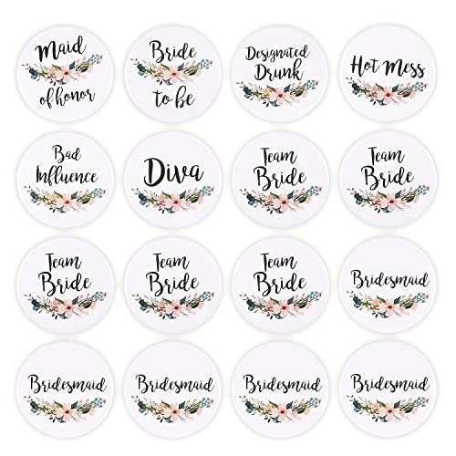 16 Pack - Bridal Party Pins - Wedding Party Buttons - Bridesmaid Gifts, Favors &