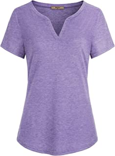 Miusey Women V Neck Short Sleeve Casual Curved Hem Henley Blouse