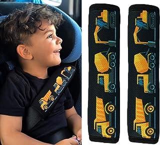 2x HECKBO Auto Gurtschutz Sicherheitsgurt Schulterpolster Schulterkissen Gurtschoner Autositze Gurtpolster für Kinder, Jungen Jungs mit Baufahrzeuge, Bagger
