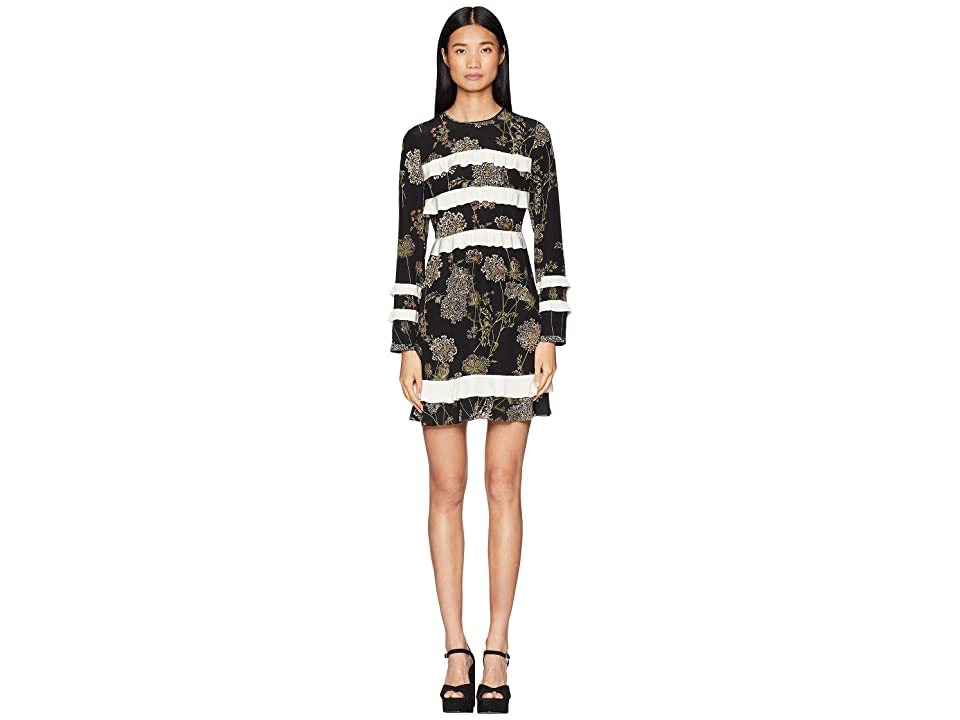 RED VALENTINO Spontaneous Flowers Print, Silk Crepe De Chine and Crepe De Chine (Black/Ivory) Women