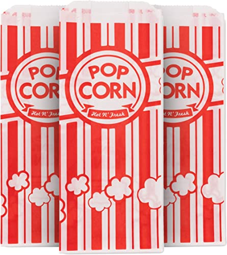 1 Oz Popcorn Bag, Red and White Disposable Carnival Popcorn Bags (500 Count) - Popcorn Bags for Popcorn Machine - Dis...