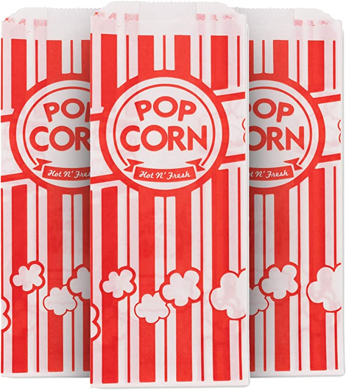 1 Oz Popcorn Bag 500 Count Red White Dispsoable Carnival Popcorn Bags