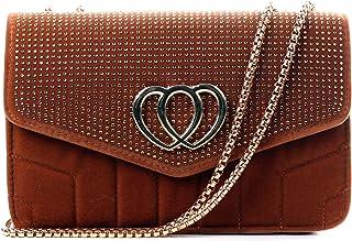 Wedmay Damen Gesteppte Crossbody Tasche mit Kette Kristall Diamant Satchel Klein oder Groß Kunstleder Samt Crossbody Umhän...