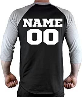 Interstate Apparel Inc Men's Personalized Athletic Sports Team Tee Black/Gray Raglan Baseball T-Shirt Black/Gray