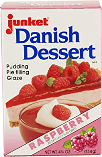 Junket Raspberry Danish Dessert Mix for Pudding, Pie Filling or Glazes- Two 4.75 oz. Boxes