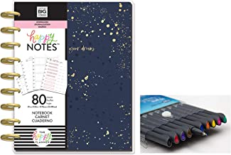 me & My Big Ideas: Medium/Classic Happy Notes Journal Go After Your Dreams and Comes with Kemah Craft 10 Pc Fineliner Color Pen (PBJR-04)