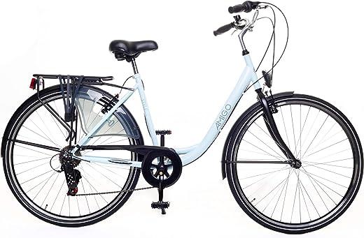 Amigo Style – Cityräder für Damen – Damenfahrrad 28 Zoll – Geeignet ab 180-185 cm – Shimano 6 Gang-Schaltung – Citybike mit Handbremse, Beleuchtung…