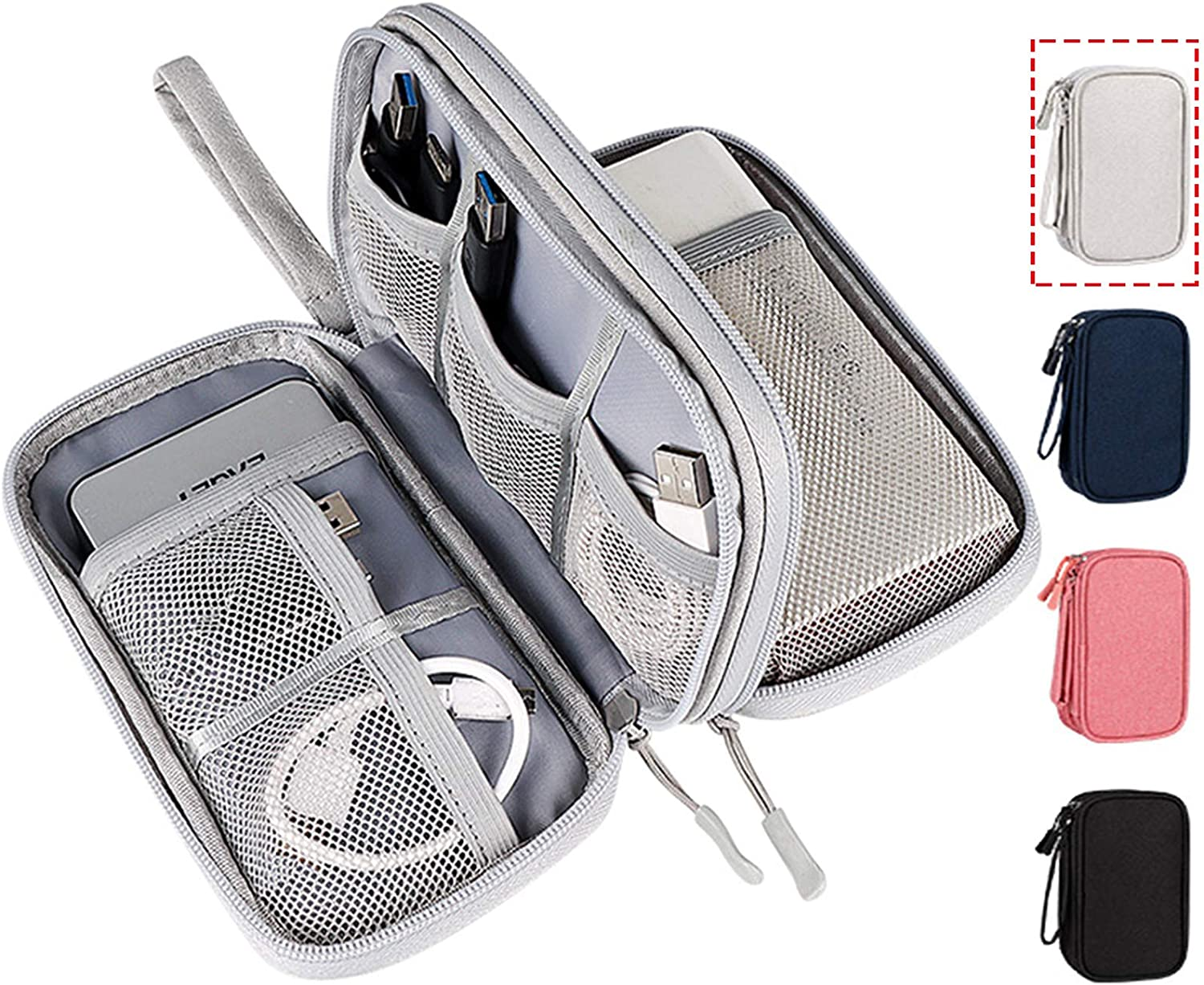 Electronic Organizer Bag, Waterproof Portable Electronic Organizer Travel Accessories Cable Bag Universal Cord Storage Case for Cable/Cord Storage, Charging Cable, Cell Phone, Power Bank, Kid's Pens