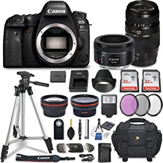 Canon EOS 6D Mark II DSLR Camera w/ 4 Lens Bundle including 2.2x Telephoto & 0.43x Aux Wide Angle Lens + 2Pcs 32GB SD Memory + Accessories with Premium Commander Kit (29 Items)