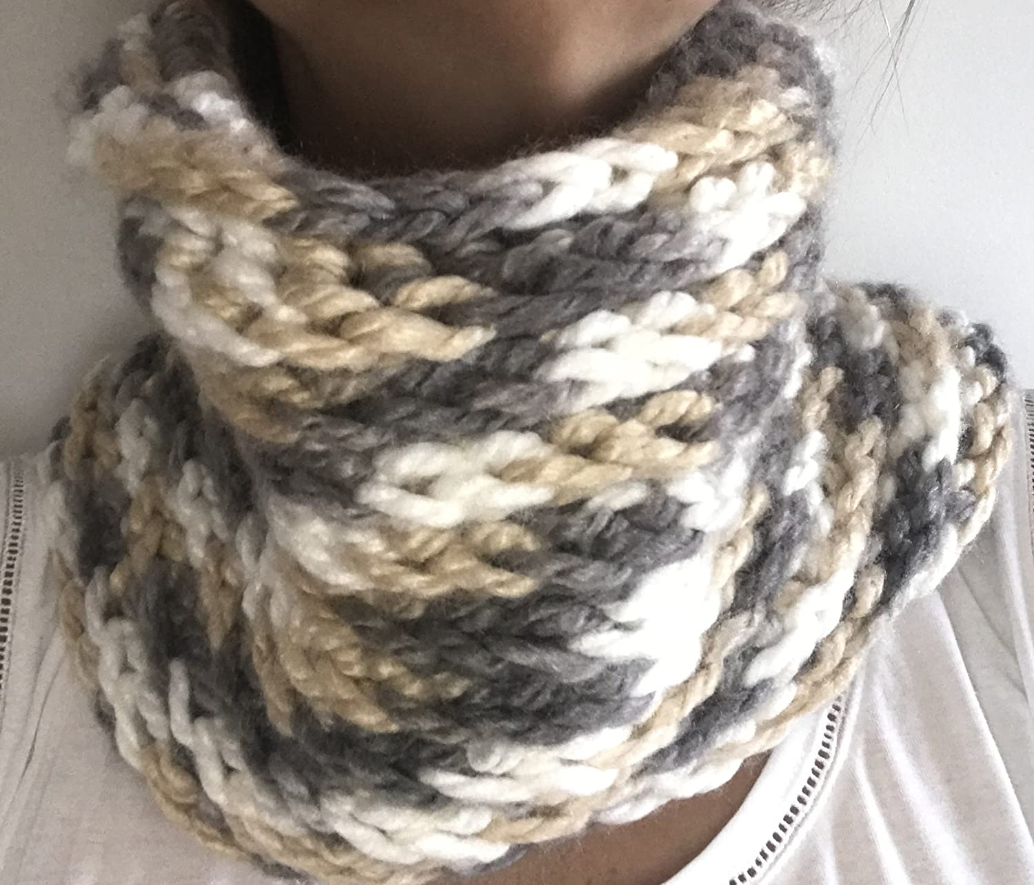 3colord Handmade Crochet Cowl Scarf
